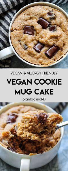 Vegan Cookie Mug Cake (vegan, dairy free, & egg free) - Plant Based RD Gluten Free Mug Cake, Vegan Mug Cakes, Mug Cake Healthy, Cake Vegan, Gluten Free Brownie In A Mug, Easy Mug Cake, Dairy Free Eggs, Dairy Free Recipes, Dairy Free Egg Free Cookies
