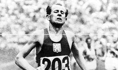 True hero. Emil Zatopek wins the marathon at the 1952 Olympic Games in Helsinki, making it a golden treble. Photograph: EPA