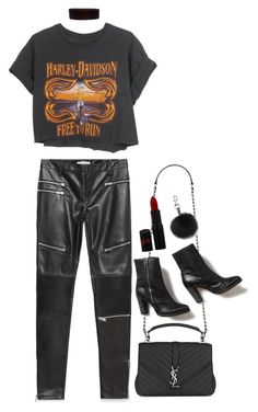 """""""Untitled #1752"""" by breannaflorence on Polyvore featuring Zara, Yves Saint Laurent, Rimmel, Rebecca Minkoff, Harley-Davidson, Free People and Steve Madden"""
