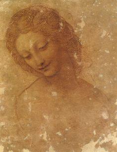 Leonardo da Vinci - Head of Leda, red chalk on red prepared paper, 20 x 15,7 cm, Pinacoteca del Castello Sforzesco, Milano
