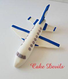 Jet Plane Fondant Cake Topper, Plane Cake Decorations, Airline themed birthday party, handmade edible fondant topper, transportation cake