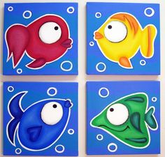 4 COLORFUL FiSH  set of 4 12x12 original by art4barewalls on Etsy, $125.00