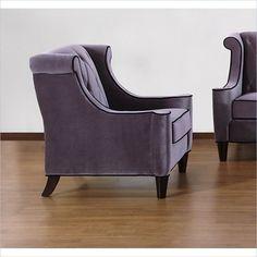 Armen Living Barrister Velvet Chair in Gray transitional-chairs
