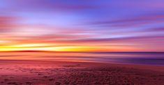 Sonnenuntergang, Lila, Himmel, Strand, Sand, Fußspuren