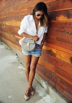Sincerely Jules - White Button Down, Chloe Drew Bag, Aquazzura Lace Up Flats