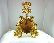 Matson,Stylebuilt, Amber Beveled Glass Window 24k Gold Plated Perfume Bottle