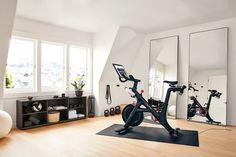 Workout Room Home, Gym Room At Home, Home Gym Decor, Workout Rooms, Dream Home Gym, Basement Workout Room, Workout Room Decor, Modern Bookcase, Modern Shelving
