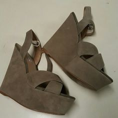 Nude Steve Madden Wedges Nude Steve Madden suede wedges. Gently worn in size 7.5 Steve Madden Shoes Wedges