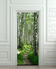 Door STICKER wood tree forest birch way mural decole film self-adhesive poster cm) . I am seriously drooling at the quality of these door stickers. Forest Road, Tree Forest, Birch Forest, Forest Mural, Forest Path, Door Murals, Door Stickers, Wood Tree, Door Wall