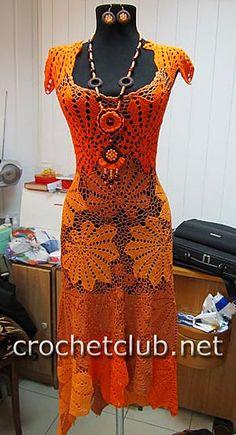 Платье крючком «Золотой листопад»