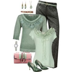 Plus Size Fall Green & Gray by elise1114 on Polyvore featuring Nina Matita, SCERVINO STREET, Betty Jackson Two, Miss Sweety, Armitron, Alexis Bittar, Alexandra Beth Designs and Maison Boinet