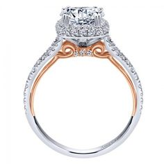18K White and Rose Gold Prong Set Halo Engagement Ring