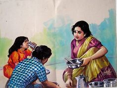 A mother feeding her children Paintings Art Sketches, Art Drawings, Indian Drawing, Composition Painting, Indian Illustration, Art Village, Indian Village, Indian Art Paintings, Happy Paintings