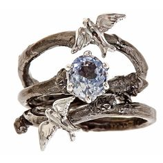 Swallow branch engagement & wedding band ring set.