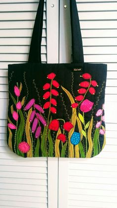 Torba-łąka Fabric Gifts, Fabric Bags, Patchwork Bags, Quilted Bag, Machine Applique, Machine Embroidery, Hessian Bags, Painted Bags, Free Motion Embroidery