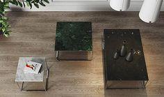 Table basse carrée avec plateau en marbre blanc de carrare