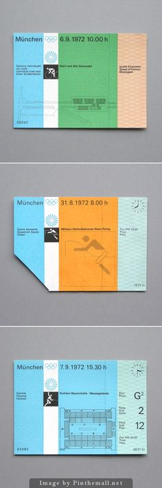 1972 Munich Olympics tickets designed by Otl Aicher. - created via http://pinthemall.net