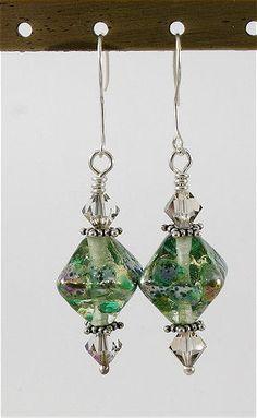 Lampwork Earrings Green Silver Lampwork Beads - SRAJD. $30.00, via Etsy.