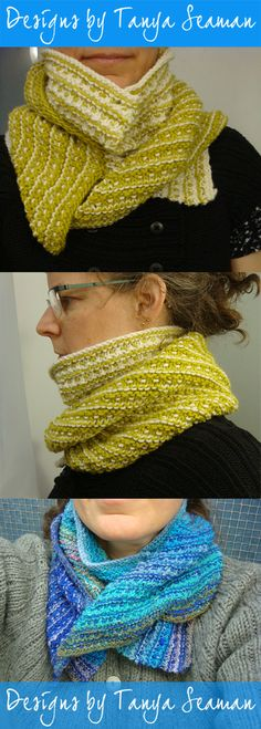 The Split Cowl turns the traditional double cowl on its head! It offers cozy warmth and a sophisticated, layered look with stripes running in different directions, and great versatility in style. You also get (count 'em!) six collar points to play with. Pattern Library, Layered Look, Animated Gif, Ravelry, Cowl, Wraps, Stripes, Traditional, Play