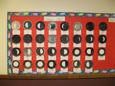 Science TEKS Moon phase calendar used to identify sequences and predict patterns Science Bulletin Boards, Interactive Bulletin Boards, Science Classroom, Teaching Science, Teaching Ideas, Classroom Ideas, Interactive Word Wall, Sensory Words, Earth Science Activities