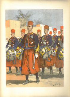 French; Zouaves.Tête de colonne, Tenue dite orientale.By Maurice Toussaint from 'LES UNIFORMES DE L'ARMEE FRANCAISE, 1935'