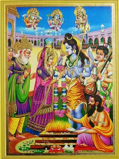 Marriage of Shiva and Parvati (Reprint on Paper - Unframed) Shiva Parvati Images, Om Namah Shivay, Lord Shiva Family, Hand Work Embroidery, Indian Art Paintings, God Pictures, Hindu Art, Indian Gods, Sacred Art