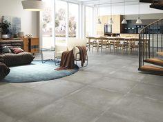 Minimalistisch. Groot. In balans. Dat zijn onze SQUARES. Deze grootformaat tegels geven uw woning een ruimtelijke uitstraling. De verhouding tegel en voeg zorgt voor balans en rust. De collectie bestaat onder andere uit de maten 70 x 70 cm, 75 x 75 cm., 80 x 80 cm., 90 x 90 cm.100 x 100 cm. en 60 x 120 cm. Interior Exterior, Laksa, Flooring, Furniture, Home Decor, Products, House Decorations, Grey Colors, Earth