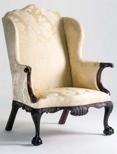 c1770 Chippendale easy chair, Phila, PA, mah, 45t,35w, Winterthur.
