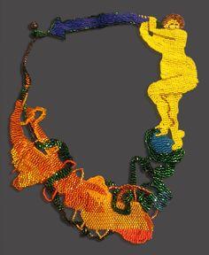 "Joyce J. Scott - Blue Arrow, Neckpiece Woven glass beads, thread 10"" x 8"""