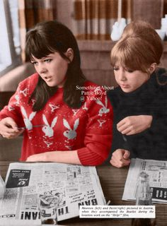 Maureen and Pattie in Austria - Colorized March 1965 - Colorized version of Maureen and Pattie looking at Melody Maker (March 20, 1965 issue) and postcards in the restaurant of the Edelweiss Hotel in Obertauern, Austria while the Beatles filmed outside. From The Beatles Monthly Book.