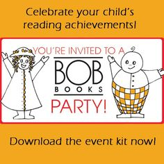 Host your own reading celebration with this BOB Books Event Kit!   Download the full event kit on the BOB Books board. Bob Books, John R, 40th Anniversary, Youre Invited, Teaching Reading, Book Design, Celebration, Preschool, Kit