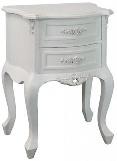 Rose 2 Drawer Bedside Delicate rose carvings and moulded rose handles are the details that give this range its name and give a very feminine feel to this item… White Dressing Tables, Dressing Table Mirror, Painted Furniture, Bedroom Furniture, French Interior, Interior Design, Bedside Cabinet, Rococo Style, Shabby Chic Homes