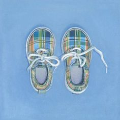 Oopsy Daisy - Little Plaid Shoes Canvas Wall Art 14x14, Jim Monahan