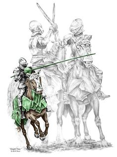 Knights are armed, ready to fight, But can't since more want the entertainment of sight.