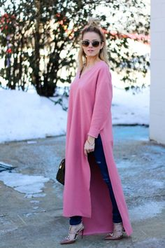 Pink Dress Fashion Blogger Style Jeans
