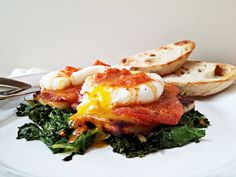 A Mediterranean inspired breakfast with bread cheese, poached eggs and harissa. Just glorious!