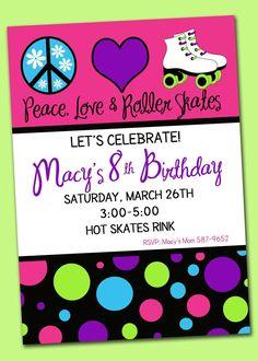 Printable Custom Peace Love & Roller Skates Birthday Party Invitation. $10.00, via Etsy.