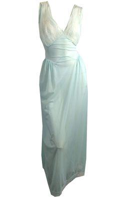 Darling Blue Nylon and Chiffon Nightgown w/ Plunging Neckline circa 1950s…