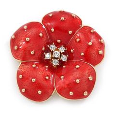 Red Enamel- Crystal Poppy Flower Brooch In Gold Plating - 50mm D - C111P4N4XMV - Brooches & Pins  #jewellrix #Brooches #Pins #jewelry #fashionstyle