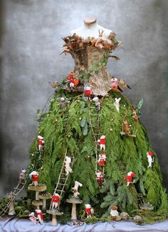 It's become a tradition that each year the Fir Lady visits us, and this weekend she rose up from the forest floor one night, a tangle of roots and vines becoming a magnificent woman by sunrise. Mannequin Christmas Tree, Christmas Tree Dress, Tree Decorations, Christmas Decorations, Christmas Ornaments, Holiday Decor, Christmas Tumblr, Christmas Sale, Deco Floral