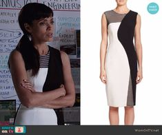 Camille's black and white dress with mesh panels on Bones.  Outfit Details: https://wornontv.net/58811/ #Bones
