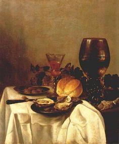 Naar Pieter Claesz: Stilleven met oesters, brood, druiven, wijnglas, bokaal , en tabakszakje. ca. 1640. Museum der bildenden Künste Leipzig, Leipzig.