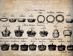 Antique Ancient Crowns Crown French English Script Illustration  Digital Download for Papercrafts, Transfer, Pillows, etc No 1373. $1.00, via Etsy.