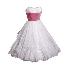1950's Emma Domb White-Chiffon & Pink-Taffeta Strapless Dress ❤ liked on Polyvore featuring dresses, vintage, white cocktail dress, white strapless cocktail dress, vintage chiffon dress, pink chiffon dresses and white strapless dress