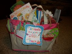 Gift for student teacher/intern garden bag full of stuff along with the book Mrs. Spitzer's garden {a very sweet book}