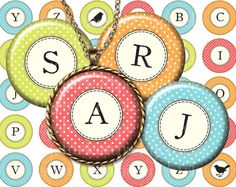 Polka Dot Alphabet Initials - typewriter letters -1 inch circles for pendants, magnets and more - downloadable graphics $3.60 on Etsy