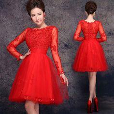 Long-sleeve-beaded-mini-A-line-party-dress-