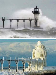 Michigan Lighthouse- before and after winter storm. went from a lighthouse to an ice kings castle St Joseph Lighthouse, Grands Lacs, Lighthouse Pictures, Ice Storm, Winter Storm, Summer Winter, Jolie Photo, Lake Michigan, Michigan Usa