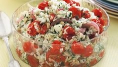 Roast tomato, feta and pine nut rice salad main image Feta Cheese Recipes, Rice Salad Recipes, Marinated Lamb, How To Cook Beans, Salad Bar, Salad Buffet, Roasted Tomatoes, Perfect Food, Quick Easy Meals
