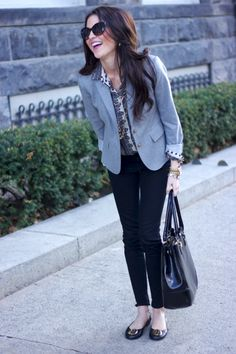 Black ankle pants, gray jacket, printed button up shirt